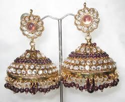 big jhumka gold tone purple mauve polki bell chandelier big indian earrings