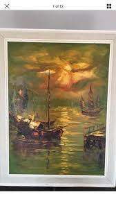 1960s chinese junk boat oil painting