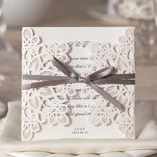 Vintage Wedding Invitation 10pcs Set White Laser Cut Vintage Wedding Invitation Cards Elegant