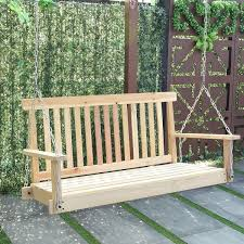 outside swing bench. Beautiful Outside Costway 4 FT Porch Swing Natural Wood Garden Bench Patio Hanging Seat  Chains  As Intended Outside