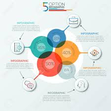 Modern Infographics Options Banner Area Chart With 5 Intersection