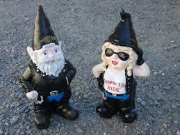 gnome bikie couple garden ornaments