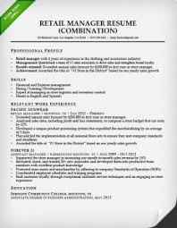 retail manager combination resume sample free combination resume template