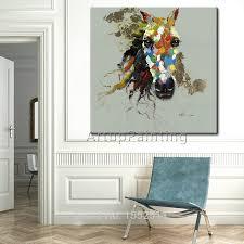 Handgeschilderde Gallant Paard Olieverf Pop Art Moderne Abstracte
