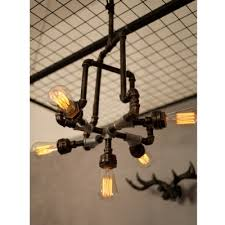 industrial chandelier with bare edison bulbs in bronze finish 5 lights 23 6 width