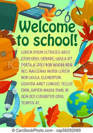 Back To School Greeting Banner With Student Items