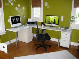 office decor images. Modern White L Shaped Office Computer Desk Feat Black Swivel Chair On Wood Floors In Green Decor Ideas Images