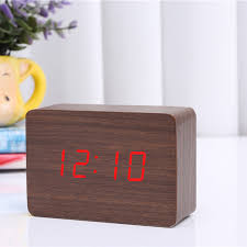 2017 brown wood green blue red word wooden led small digital alarm clock morden electronic desk