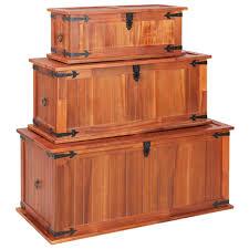 Greensen <b>Storage Chests 3 pcs</b> Solid Acacia Wood Storage Chests ...