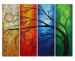 on colorful metal wall art decor with primary brilliance handmade tree metal wall art set of 4