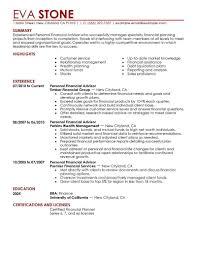 Financial Resume Template Svoboda2 Com