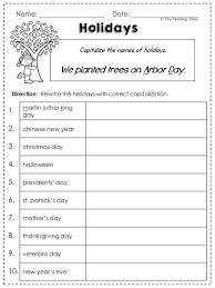 FREE capitalization worksheet- Capitalizing holidays | School ...