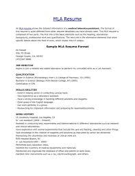 Mla 3 Resume Format Resume Format Resume Examples Sample