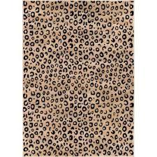 dulcet leopard black 3 ft x 4 ft modern animal print area rug