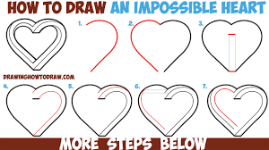 drawing step by step for beginners. Simple Step How To Draw An Impossible Heart  Easy Step By Drawing Tutorial For  Beginners Throughout By For S