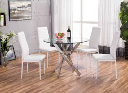 novara chrome round glass dining table and 4 white montero dining chairs set