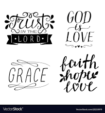 God Christian Quotes Best Of Set Of 24 Hand Lettering Christian Quotes God Is Vector Image