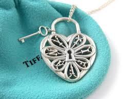 b tiffany co b br stunning filigree tiffany co stunning filigree heart key pendant necklace charm