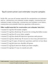 Construction Estimator Resume Sample Top 8 Construction Cost Estimator Resume Samples