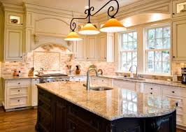 pendant lights with a traditional touch above a glazed marble kitchen island