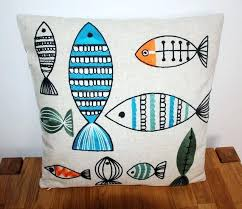 box cushion covers embroidered decorative sofa chair car covers box retro linen throw compass creative fish