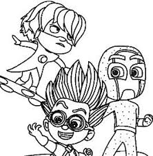 Owlette Gekko And Catboy From Pj Masks Coloring Page Free