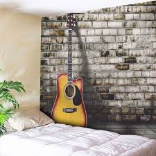 guitar wall hanging home decor microfiber tapestry gray w71 inch l71 inch