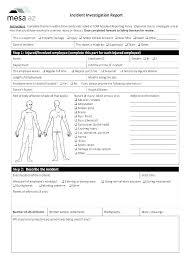 Injury Incident Report Template Form Employee Motor Vehicle