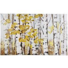 birch tree wall art yellow