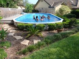 decorative shrubbery around pool above ground pool landscaping