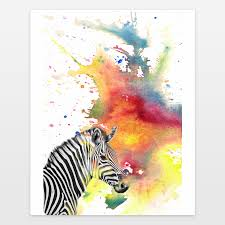 portrait of a zebra watercolor painting art print by idillard on boomboomprints