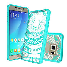 Galaxy Note 5 Case, Samsung Case Clear with Screen Protector, AnoKe Mandala Flower Cute Women Girls Acrylic Thin Slim Fit TPU Bumper Phone