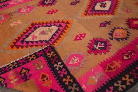 persian vintage 1955 beige pink kilim rug for