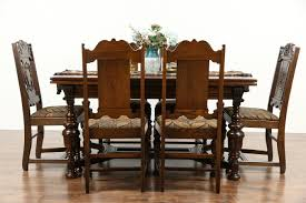 tudor 1925 antique carved oak dining set table 6 chairs new upholstery