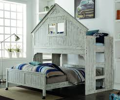 Driftwood Bedroom Furniture Twin Size Club House Low Loft Bed In Brushed Driftwood Finish 007d