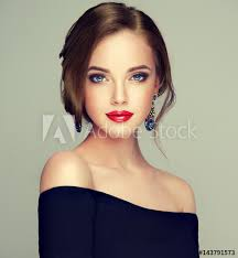 beautiful model with elegant hairstyle woman with fashion style makeup