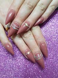 eye candy nails mauve over gel polish with crystal nail art