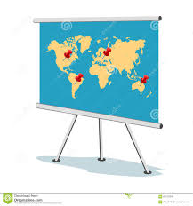 Flip Chart World Map With Points Business Concept