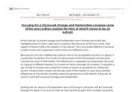 focusing on a clockwork orange and frankenstein compare some of  document image preview