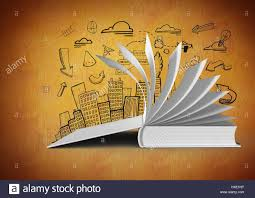 digital posite of 3d book open turning pages against orange background with city ilration drawings
