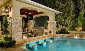 backyard pool and outdoor kitchen designs. Perfect Designs Backyard Designs With Pool And Outdoor Kitchen Designer Backyards With  Regard To In G