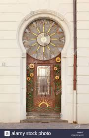 Artistic Door Design Ornate Artistic Entrance Door With Sunflower And Sun Design