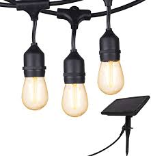 Make Patio Lights Outdoor Solar String Lights 28 Ft Vintage S14 Hanging Patio Lights With 12 Shatterproof Dimmable Led Bulbs Auto On Off For Outdoor Bistro Cafe Garden