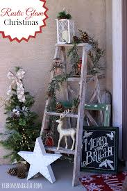 rustic glam front porch decorated with rusric gam pine cones and biglots holiday collection