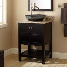 natural wooden material and marble vessel sink vanity close classy mirror inside small window