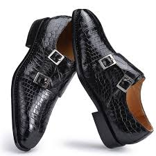 handcrafted alligator leather classic double monk strap dress shoes for men
