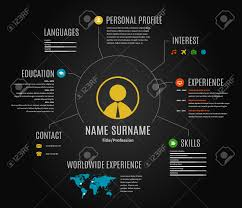 resume web infographic template cv world map and icons vector resume web infographic template cv world map and icons dark black background