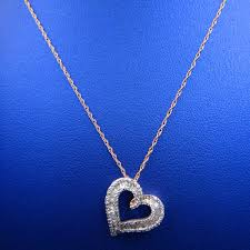10k rose gold pave channel set diamond heart pendant with chain
