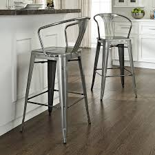 bar stools metal set crosley furniture amelia modern galvanized black and white kitchen table for inch
