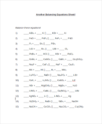 easy balancing equations worksheet